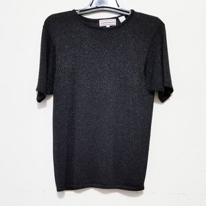 Womens Knit Pullover Top Black & Silver Metallic